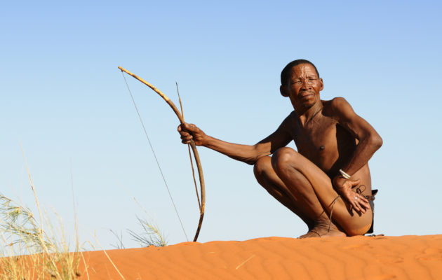 Lone Kalahari bushman on red sand dune